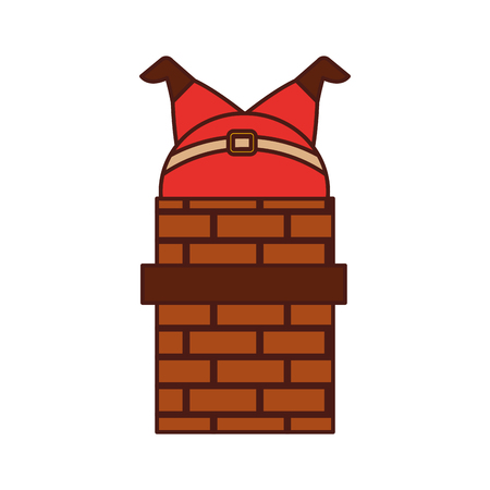santa claus stuck in the chimney on the roof christmas vector illustration Banco de Imagens - 86856847