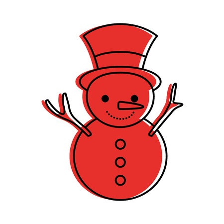 Christmas snowman cartoon smile character winter vector illustration Illustration