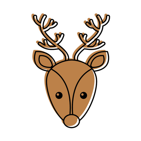 Christmas reindeer head horned animal decoration vector illustration Иллюстрация