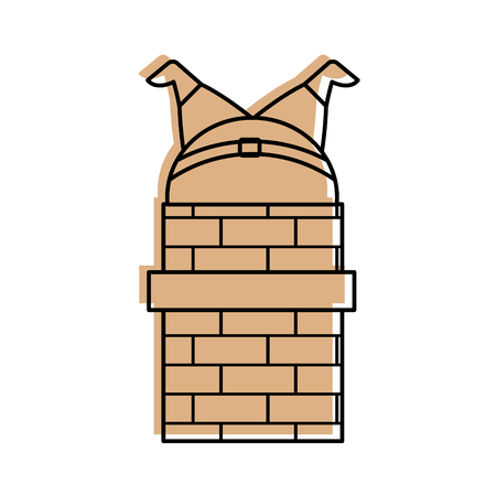 santa claus stuck in the chimney on the roof christmas vector illustration Banco de Imagens - 86856855