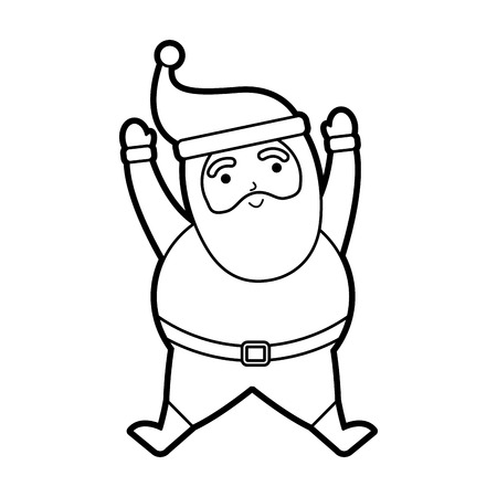 christmas happy santa claus jumping celebration vector illustration Illustration