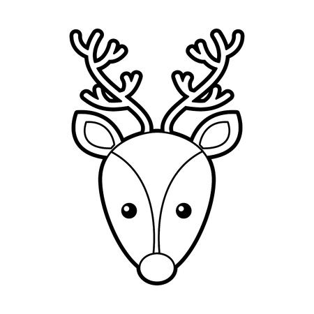 クリスマス トナカイ ヘッド角のある動物装飾ベクトル イラスト
