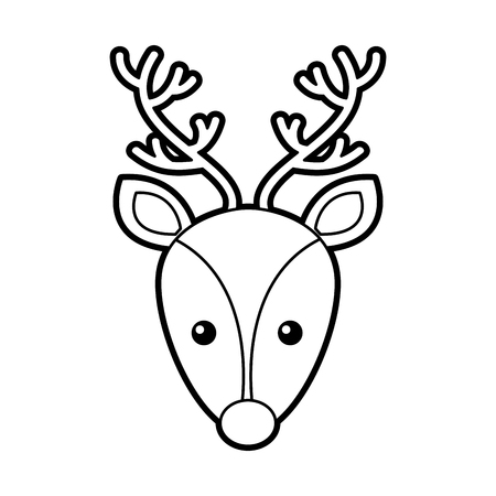christmas reindeer head horned animal decoration vector illustration Stock Vector - 86856878