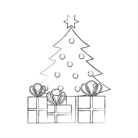 christmas tree pine gift boxes decoration celebration vector illustration