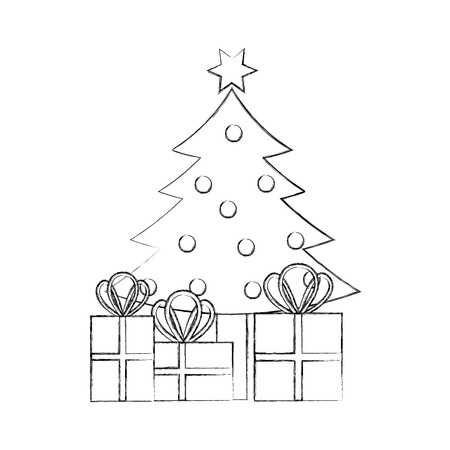 christmas tree pine gift boxes decoration celebration vector illustration