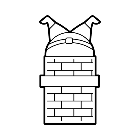 santa claus stuck in the chimney on the roof christmas vector illustration
