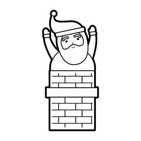 christmas santa claus in the chimney card vector illustration