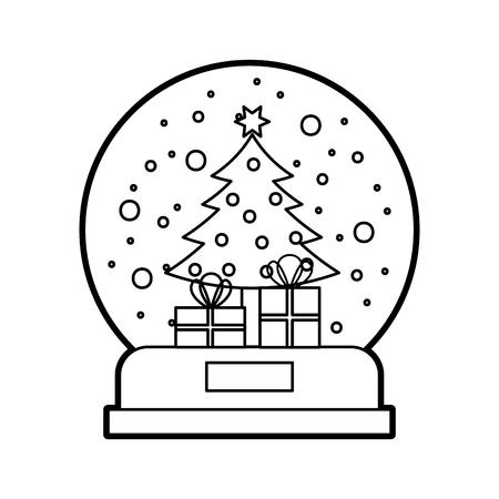 sneeuwbol en Kerstmisspar die met van sterballen en giften doos vectorillustratie wordt verfraaid