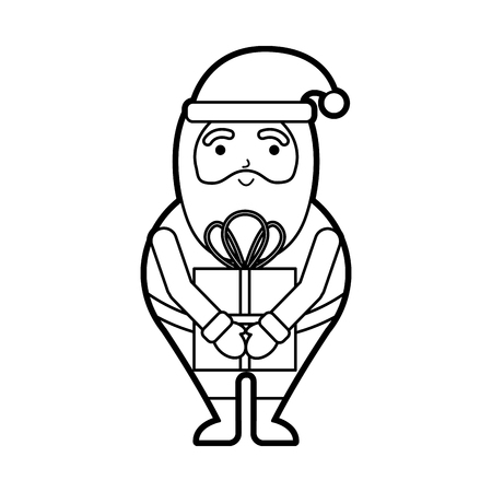 christmas happy santa claus with gift box holiday vector illustration