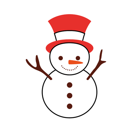 christmas snowman cartoon smile character winter vector illustration