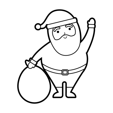 christmas happy santa claus waving hand with bag toys vector illustration
