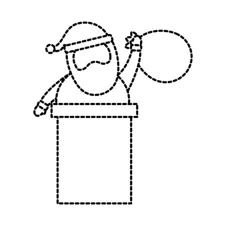 christmas santa claus in the chimney card vector illustration Banco de Imagens - 86856941