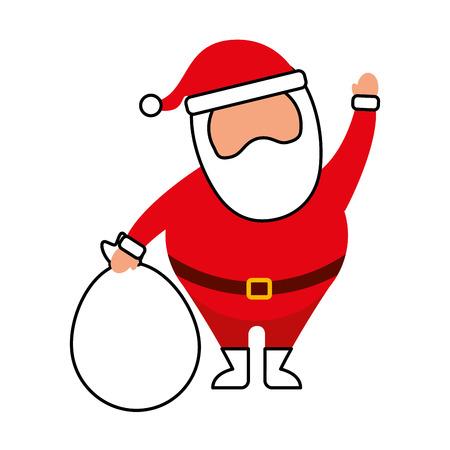 クリスマスハッピーサンタクロースは、バッグのおもちゃのベクトルイラストで手を振っ