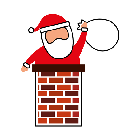 merry christmas santa claus in the chimney with bag toys gift card vector illustration Zdjęcie Seryjne - 86856959