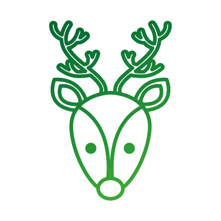 christmas reindeer head horned animal decoration vector illustration Фото со стока - 86856975