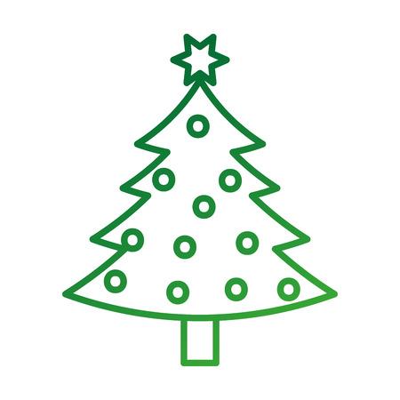 christmas tree pine natural decoration celebration vector illustration