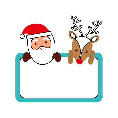 christmas santa claus and reindeer card empty decoration vector illustration Ilustracja