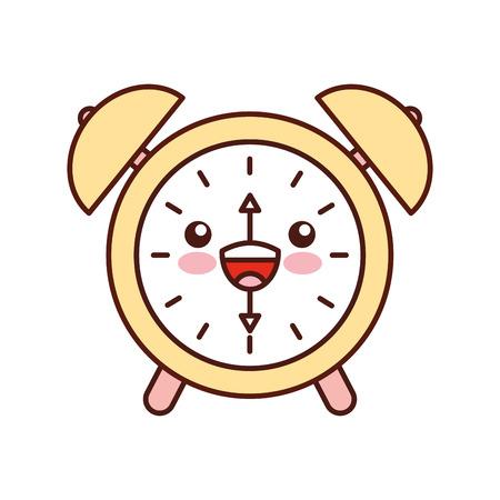 카와이 알람 시계 시간 경보 벨 시간 만화 벡터 일러스트 레이션