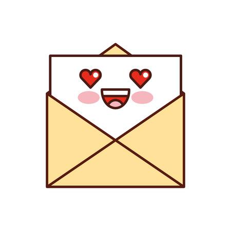 kawaii e-mail envelop brief bericht cartoon vector illustratie