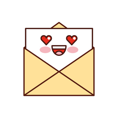 kawaii email envelope letter message cartoon vector illustration