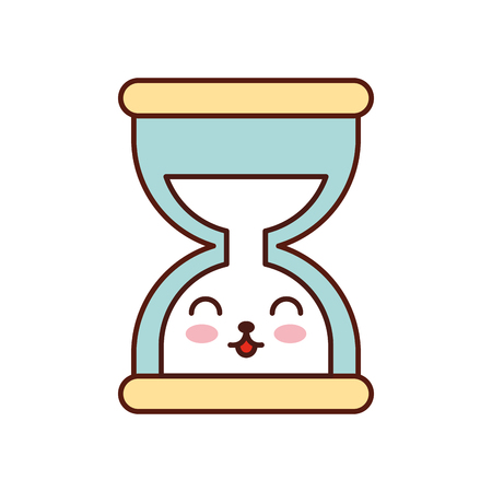 kawaii business time management hourglass cartoon vector illustration