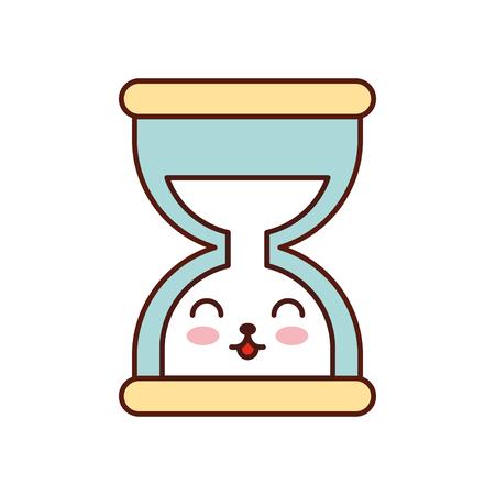 kawaii business time management zandloper cartoon vector illustratie