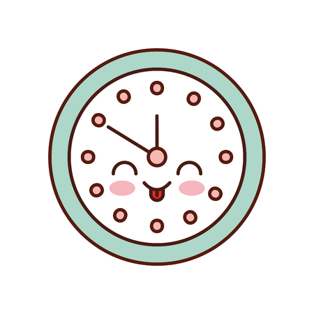 round clock time minute cartoon vector illustration
