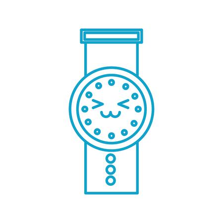 kawaii hand watch time business cartoon vector illustration