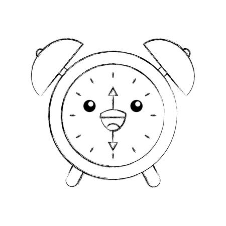 alarm clock time alert bell hour cartoon vector illustration Illustration