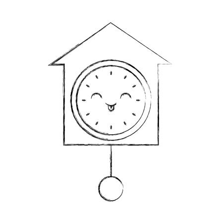 kawaii clock pendulum decoration office vector illustration