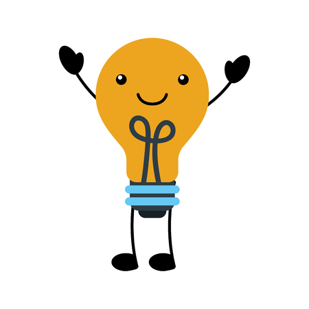 kawaii bulb light idea creativity cartoon vector illustration