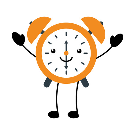 kawaii alarm clock time alert bell hour cartoon vector illustration
