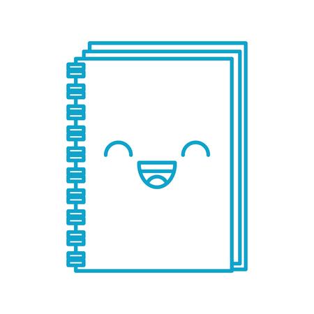 kawaii spiral notebook cover leaves cartoon vector illustration Stock Vector - 87020371