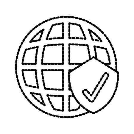 グローバルな安全チェック マーク シールド保護情報符号ベクトル イラスト  イラスト・ベクター素材