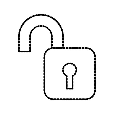 open padlock security protection data file information vector illustration Illustration