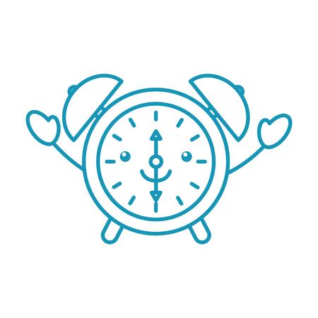 kawaii alarm clock time alert bell hour cartoon vector illustration