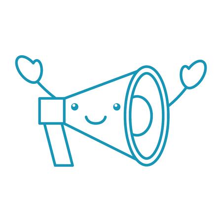 kawaii megaphone loudspeaker marketing cartoon vector illustration