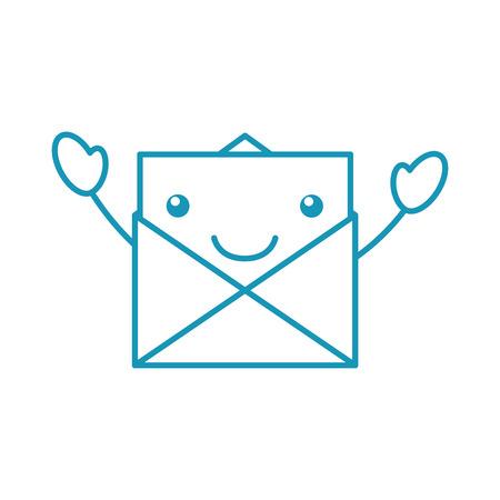 카와이 이메일 봉투 편지 메시지 만화 벡터 일러스트 레이션