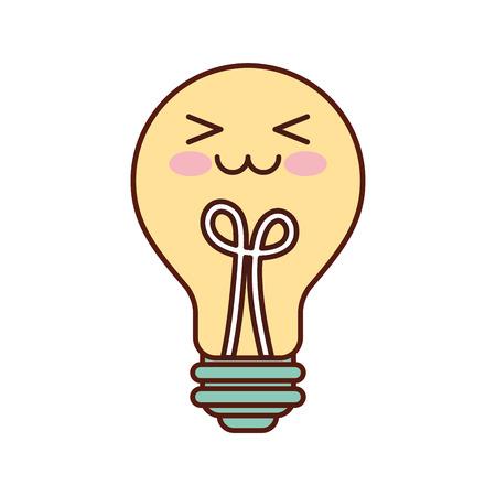 kawaii bulb light idea creativity cartoon vector illustration