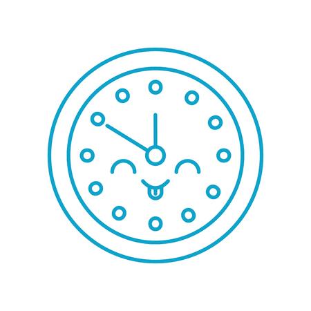 kawaii round clock time minute cartoon vector illustration