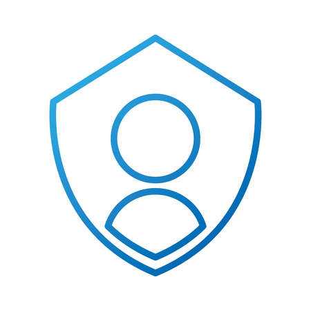 sheild: privacy icon shield with person symbol protection authentication security vector illustration