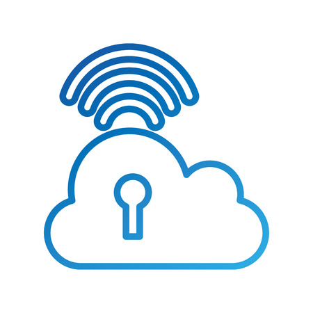 cloud computing keyhole security wireless internet digital vector illustration Иллюстрация