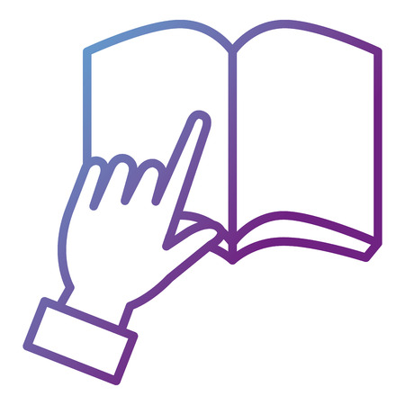 Hand pointing to a book icon in vector illustration design Stock fotó - 86857141