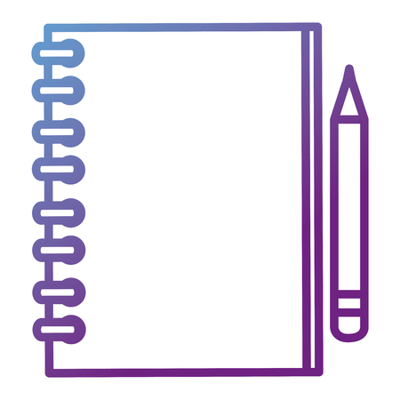 A vector illustration of a spiral notebook and pencil.