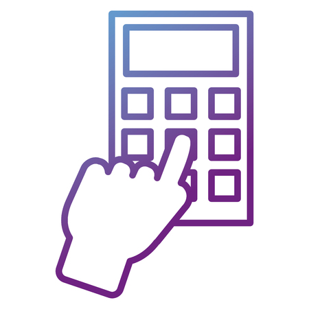 Hand with a calculator isolated icon vector illustration design