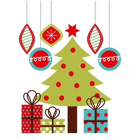 Christmas tree gifts balls hanging decoration ornament vector illustration