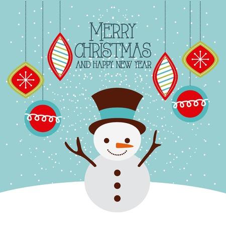 メリー クリスマスと新年あけましておめでとうございます面白い雪だるまとボール デコレーション カード ベクトル イラスト