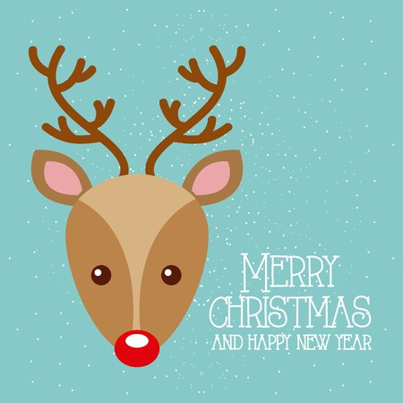 merry christmas and happy new year cute deer red nose vector illustration