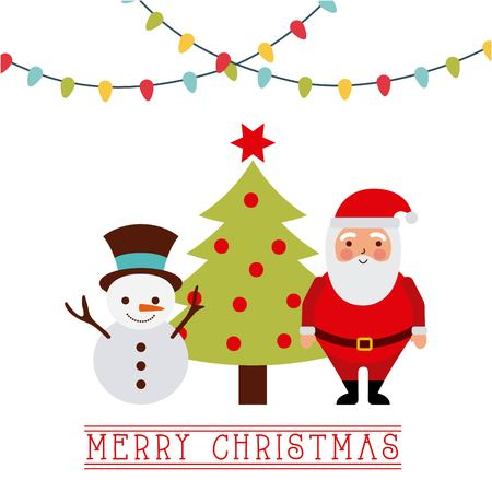 merry christmas card santa with reindeer tree lights vector illustration 向量圖像