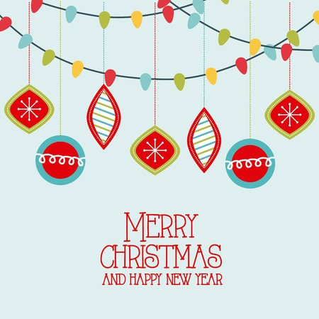 merry christmas and happy new year santa with tree pine decoration vector illustration